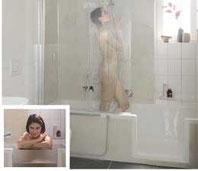 Badewanne mit Tür und Dusche Dobla